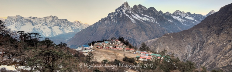 Tengboche (or Thyangboche) is a village in Khumjung in the Khumbu region of northeastern Nepal, located at 3,867 metres (12,687 ft). In the village is an important Buddhist monastery, Tengboche Monastery, which is the largest gompa in the Khumbu region. The structure was built in 1923. In 1934, it was destroyed by an earthquake but subsequently rebuilt. It was destroyed again by a fire in 1989, and again rebuilt with the help of volunteers and the provision of foreign aid. Tengboche has a panoramic view of the Himalayan mountains, including the well-known peaks of Tawache, Everest, Nuptse, Lhotse, Ama Dablam, and Thamserku. Tenzing Norgay, the first man to reach the summit of Mount Everest with Sir Edmund Hilary was born in the area in the village of Thani and was once sent to Tengboche Monastery to be a monk.
