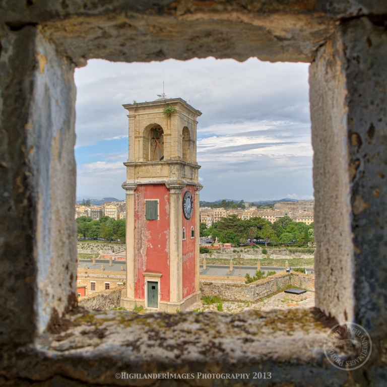 Clock Tower at Old Fortress of Corfu, Kerkira, Corfu, Greece