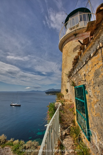 Lighthouse at Old Fortress of Corfu, Kerkira, Corfu, Greece