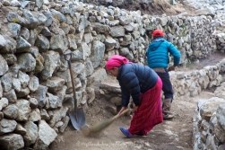 Sweeping the path on the outskirts of Namche Bazaar as we head down the hill towards Phakding.