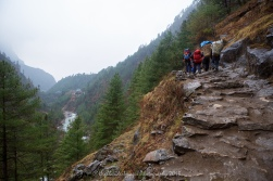 The return trek from Monjo to Phakding was wet making the trail skippy and dangerous.