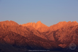 Alabama Hills area, Lone Pine, California with Sierra Nevada mountains in the background, including Mount Whitney.